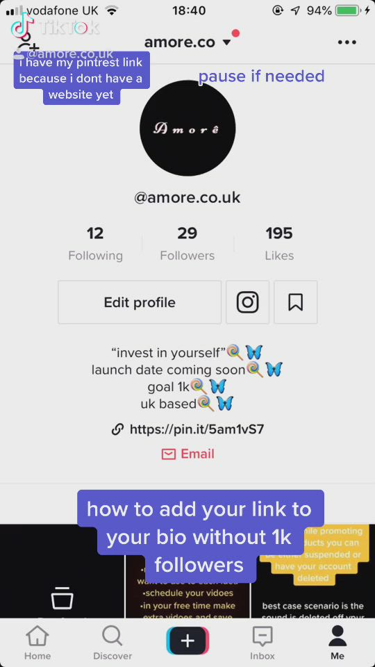 How To Add Your Link To Bio Without 1k Followers Video Ads Investing Edit Profile