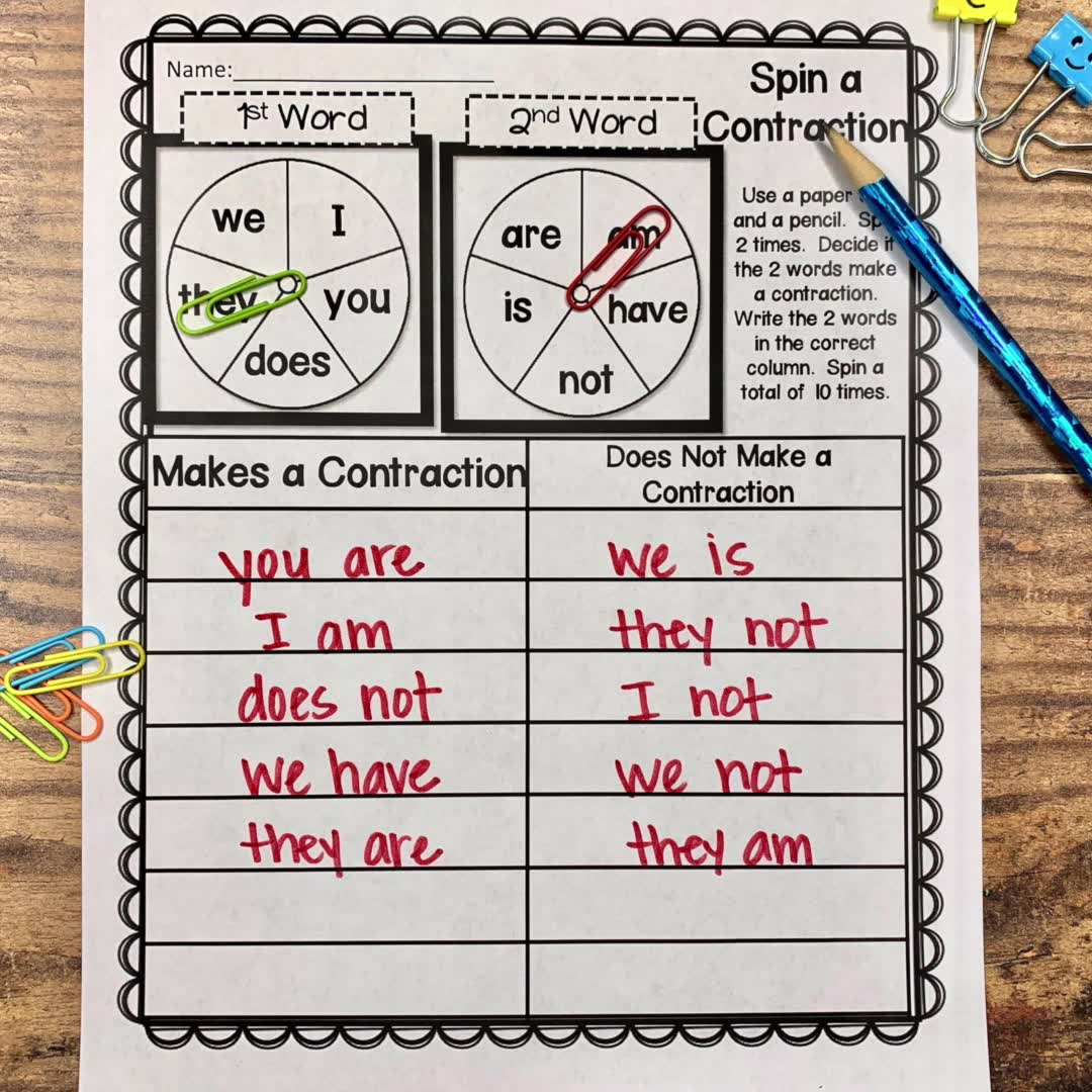 Contractions are a huge skill for second grade. We use contractions in our  everyday … Video   Contraction worksheet [ 1080 x 1080 Pixel ]