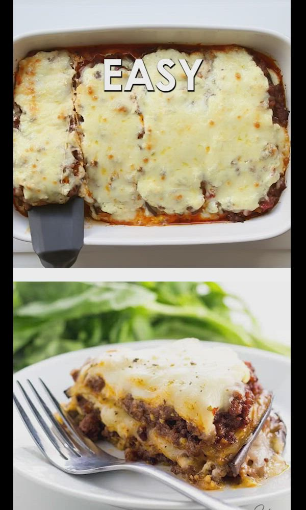Low Carb Eggplant Lasagna Recipe Without Noodles - Gluten-Free - This healthy low carb eggplant lasagna recipe without noodles is quick and easy to make, using simple ingredients. Just 20 minutes prep time! #wholesomeyum #keto #lowcarb #glutenfree #easyrecipe #ketorecipe #dinner #ketodinner #lowcarbdinner
