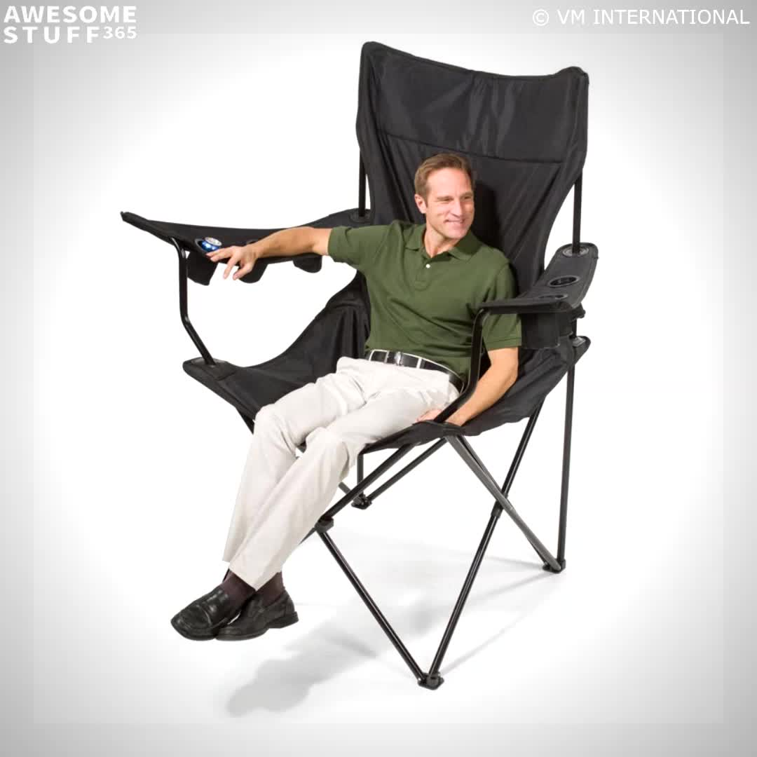 This Giant Folding Chair Is Over 5 Feet Tall And Has 6 Cup Holders Video Video Camping Chairs Sport Chair Go Camping