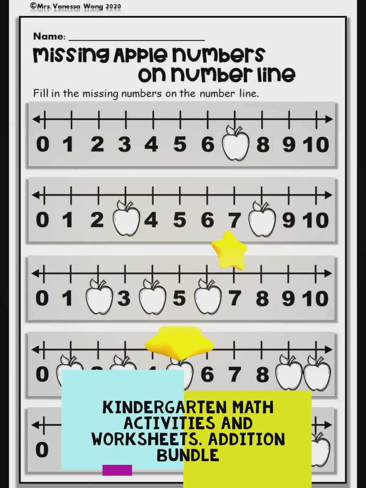 Kindergarten Math Worksheets And Activities Addition To 10 Video Kindergarten Math Kindergarten Math Worksheets Addition Kindergarten Math Worksheets Kindergarten number line addition