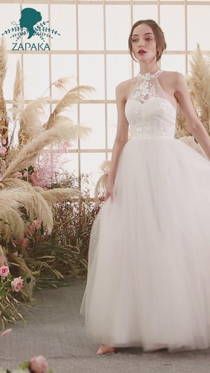 White Halter Neck Wedding Dress Video Video Wedding Dresses Lace Halter Wedding Dress Wedding Dress Halter Neck