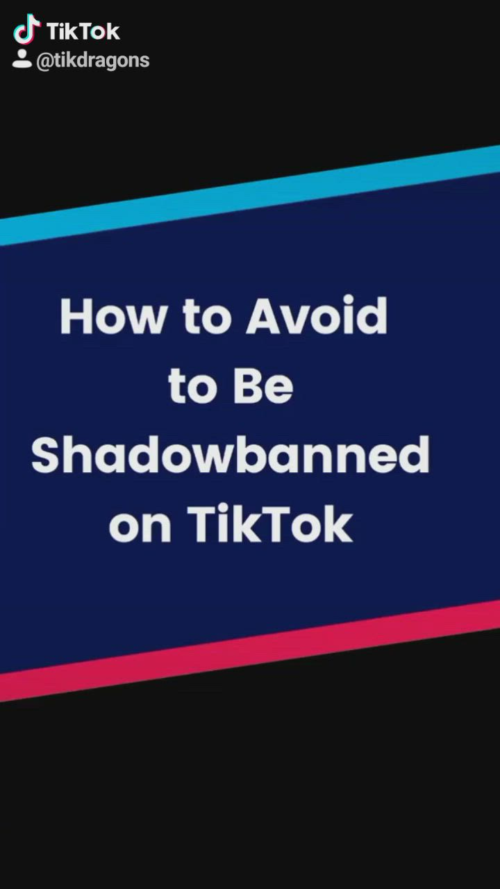How To Avoid To Be Shadowbanned On Tiktok Video Learning Tips Create Yourself