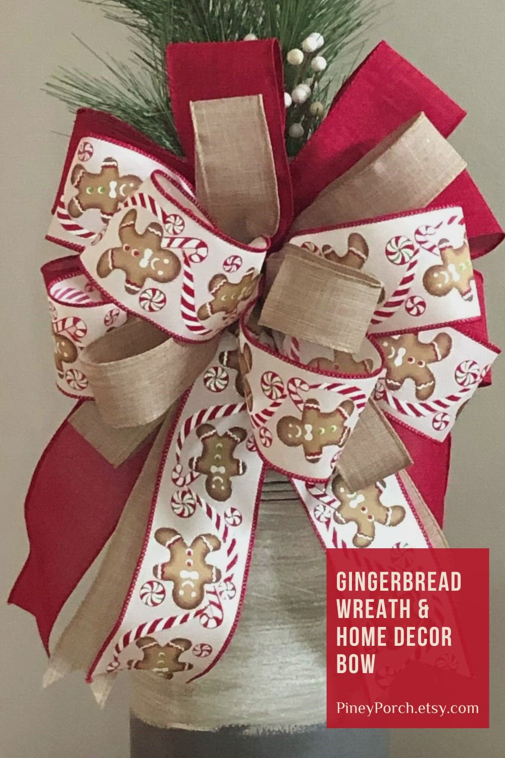 Gingerbread Tree Bow Red Gingerbread Christmas Bow Christmas Tree Bow Red XMAS Tree Bow Tree Topper Bow Gingerbread Wreath Bow
