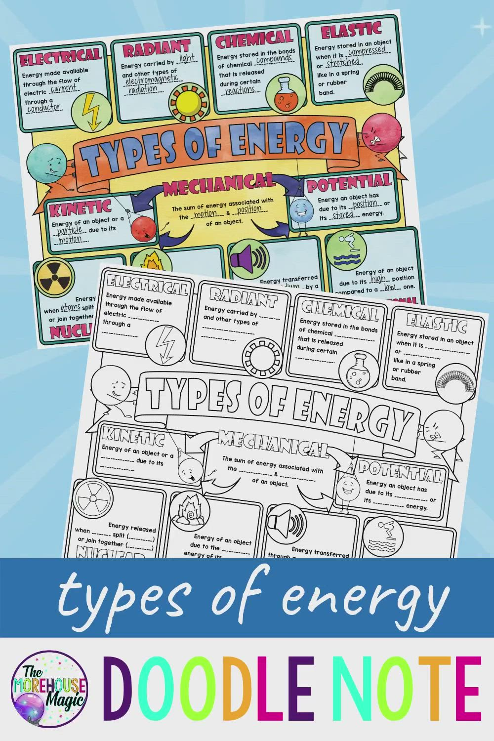 Types Of Energy Science Doodle Notes Video Energy Science Lessons Science Doodles Doodle Notes
