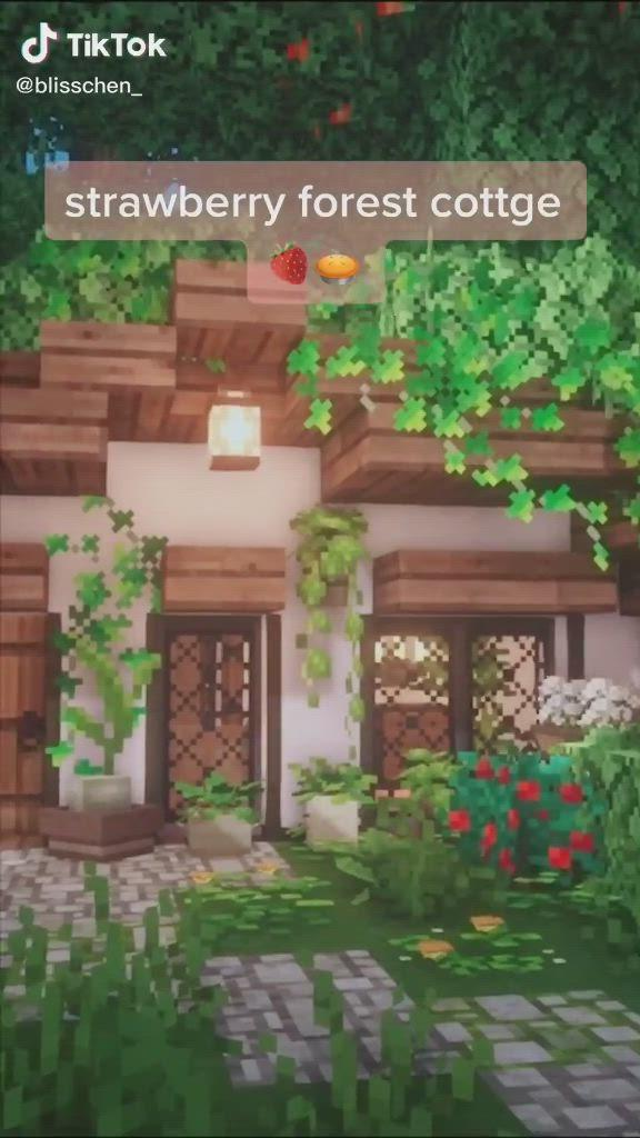 Strawberry Forest Cottage By Blisschen Video Minecraft Furniture Cute Minecraft Houses Minecraft Houses