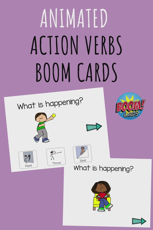 Action Words Verbs Boom Cards Distance Learning Video Preschool Special Education Action Words Kindergarten Activities [ 1500 x 1000 Pixel ]