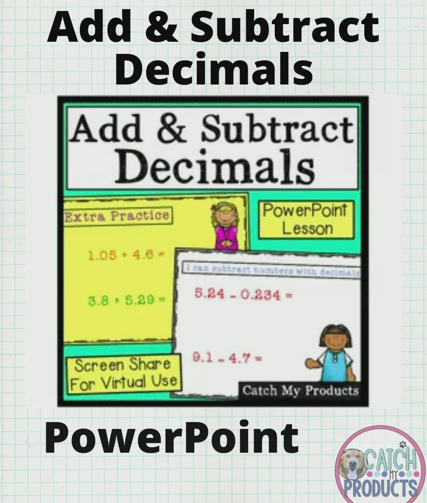 Adding And Subtracting Decimals Powerpoint For Kids Video Printable Graph Paper Graph Paper Graph Paper Designs Adding subtracting decimals video