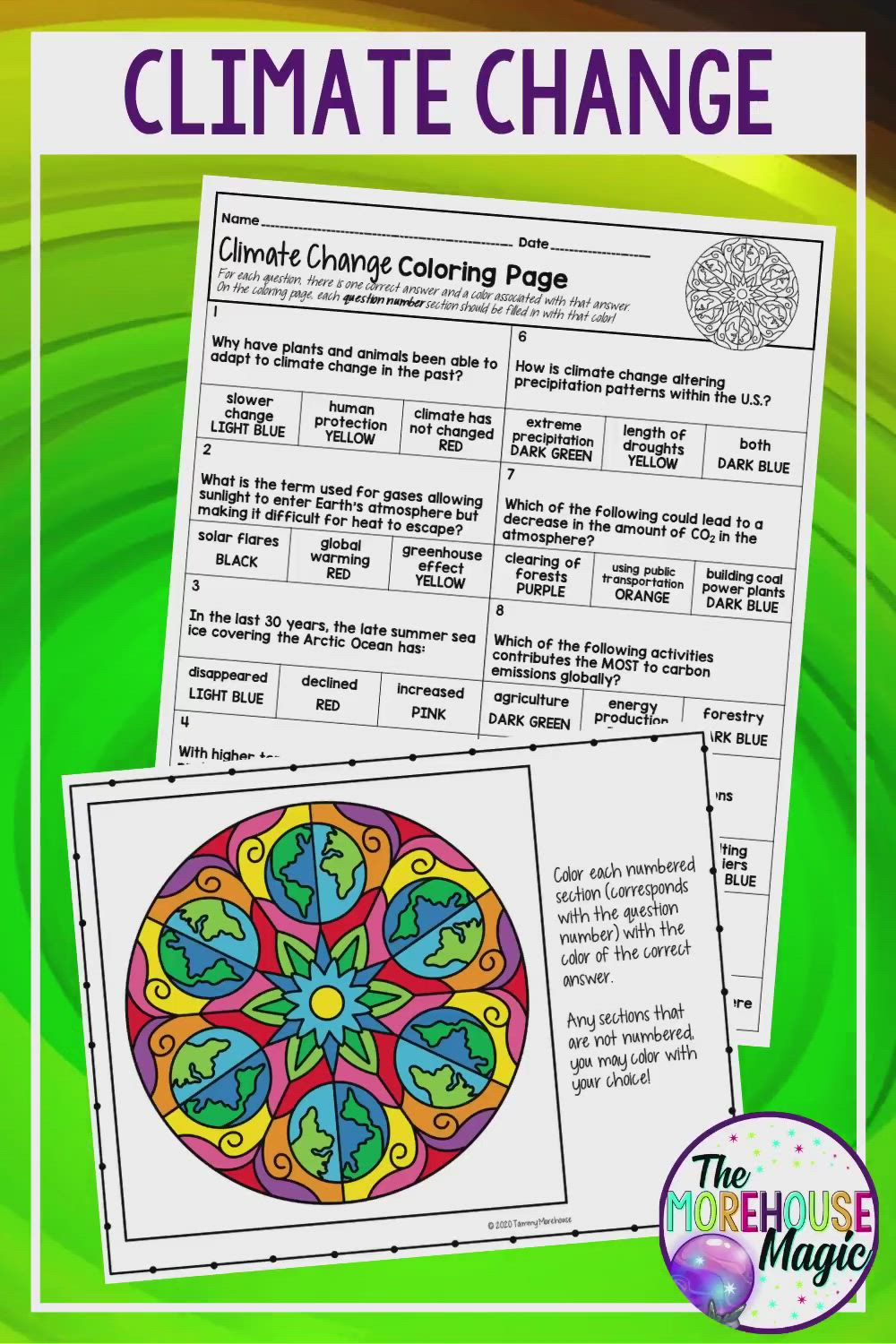 Climate Change Color By Number Science Color By Number Video Video Climate Change Activities Climate Change Upper Elementary Science