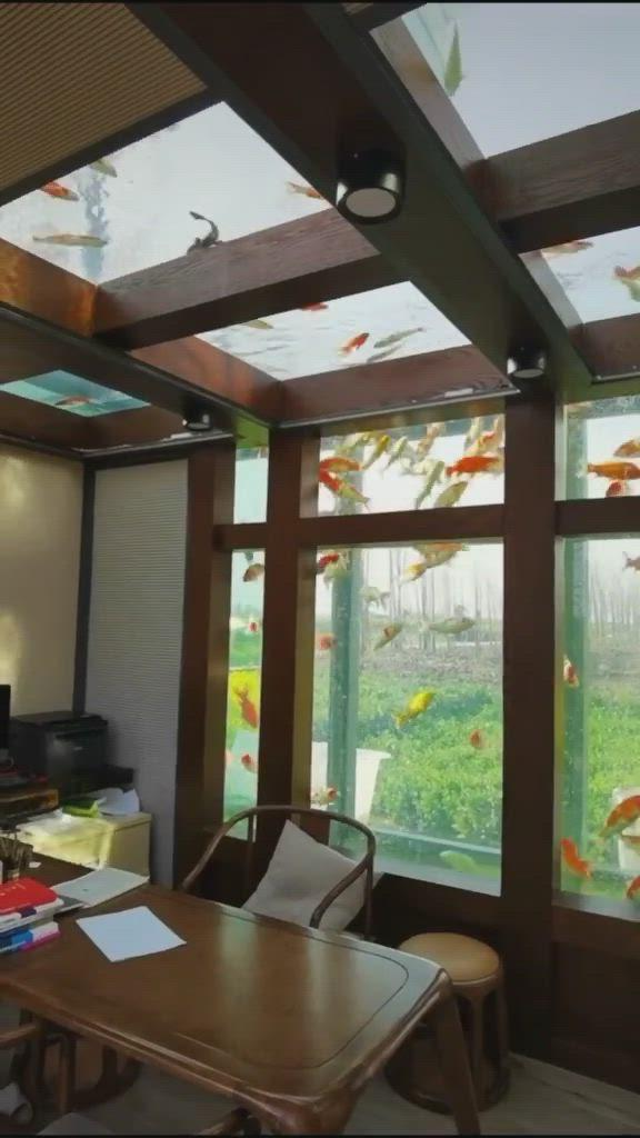 Office Desk Fish Tank Video Workspace Design Design Home Room Design