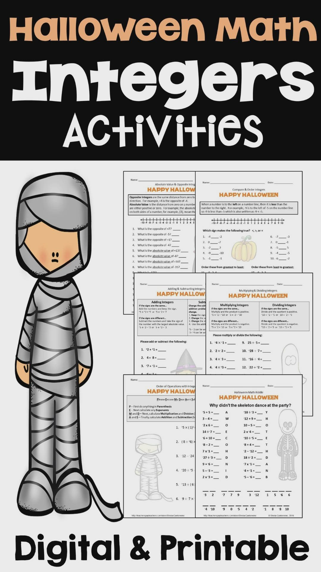 Halloween Integers Worksheets Video Video Integers Worksheet Integers Math Activities Fun printable math worksheets for 7th