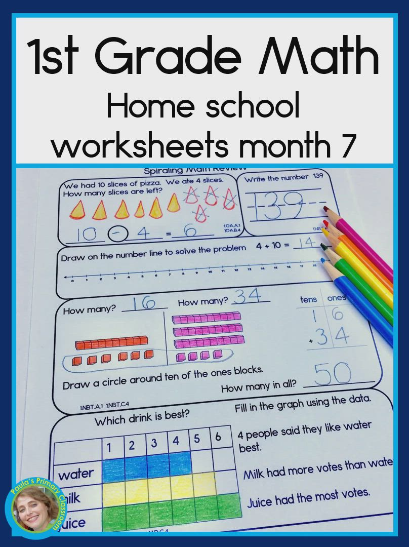 Daily Math For First Grade Month 8 Video Video Daily Math 1st Grade Math First Grade Math [ 1080 x 808 Pixel ]