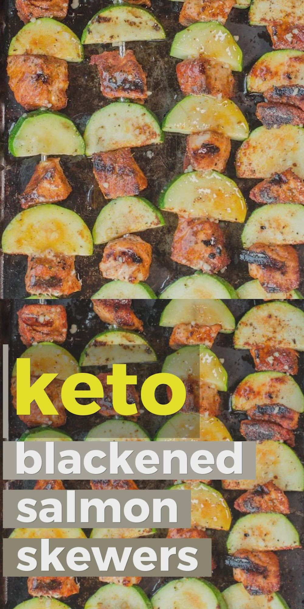 These Blackened Salmon and Zucchini Skewers are keto, low carb and gluten free! These summer kabobs are perfect on their own or on top of a big salad! #keto #salmon