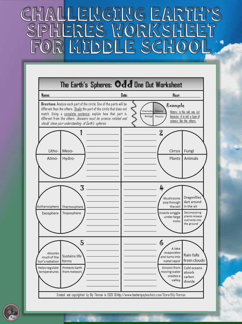 Earth S Spheres Odd One Out Worksheet Video Video Earth Science Lessons Middle School Science Resources Elementary Earth Science